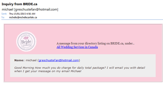Email Scam to Bridal Businesses in Canada